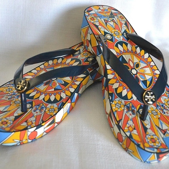 2b888144098274 NIB Tory Burch Psychedelic Geo Carved Wedge 8